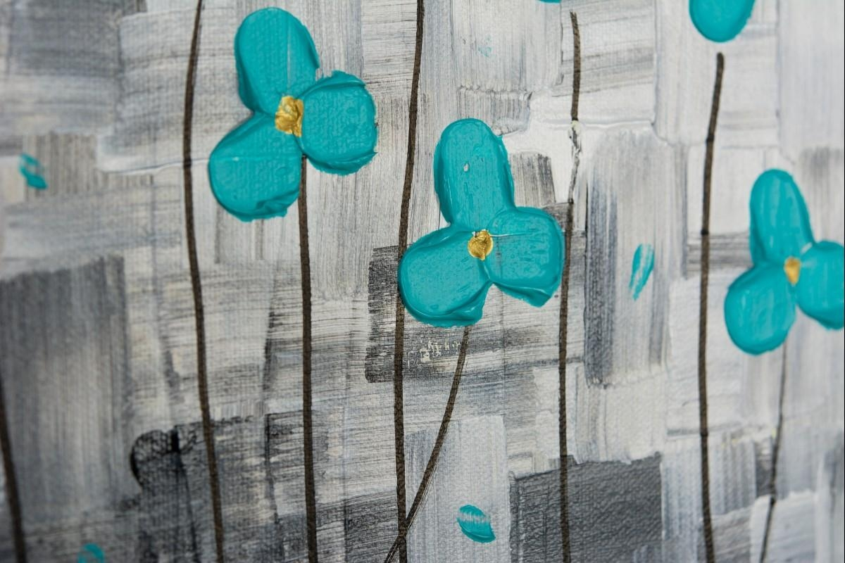 "After The Rainqiqigallery 36"" X 12"" Original Modern Abstract With Regard To Teal Flower Canvas Wall Art (View 3 of 20)"