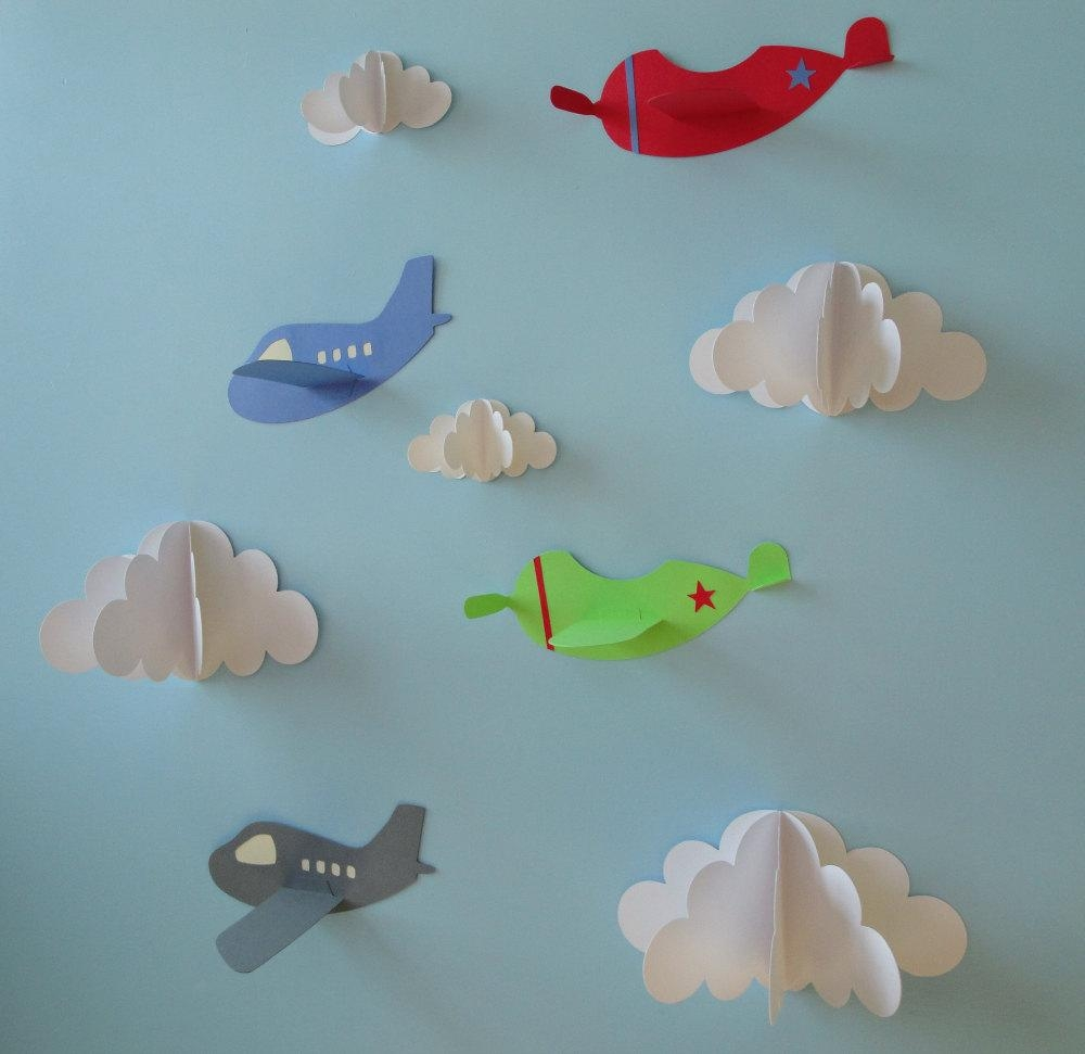 Airplane Wall Decals Plane Wall Decals Planes And Clouds 3D In 3D Clouds Out Of Paper Wall Art (Image 7 of 20)
