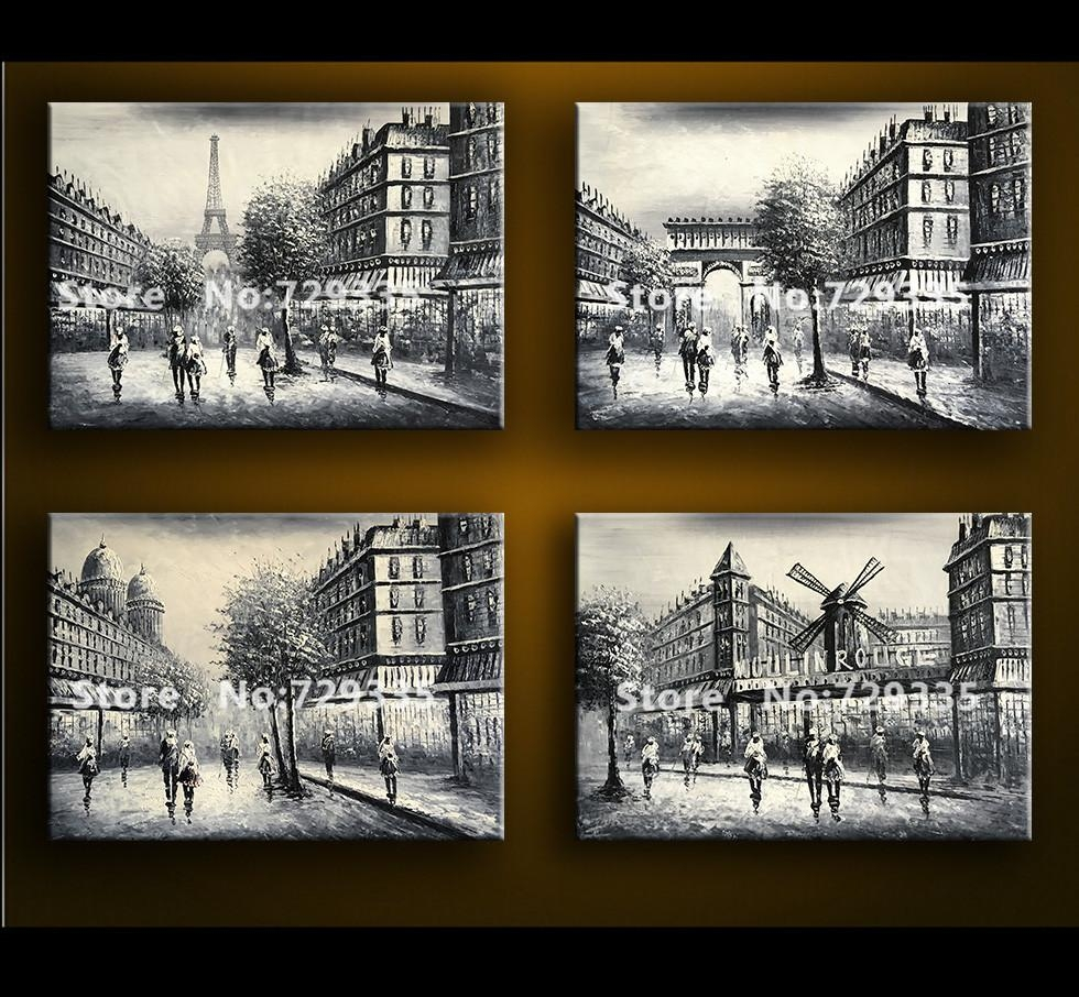 Aliexpress : Buy 100%handmade Oil Painting Black And White With Regard To Black And White Paris Wall Art (Image 4 of 20)
