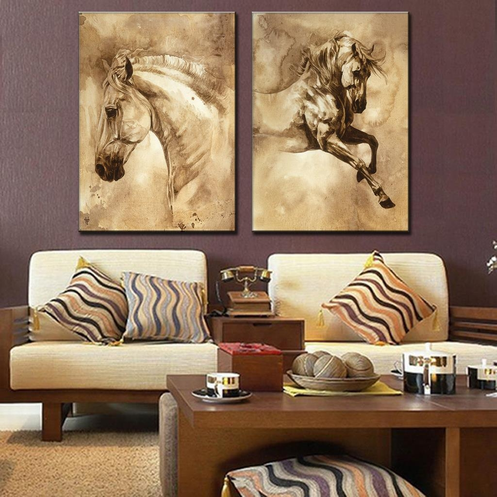 Aliexpress : Buy 2 Pcs/set Modern Abstract Canvas Wall Art With Regard To Animal Canvas Wall Art (Image 2 of 20)