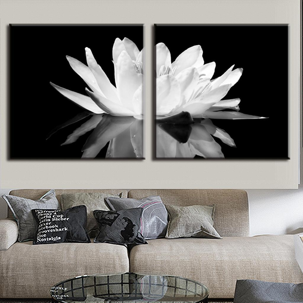 Aliexpress : Buy 2 Pcs/set Modern Wall Paintings White Lotus Throughout Black And White Wall Art Sets (Image 1 of 20)