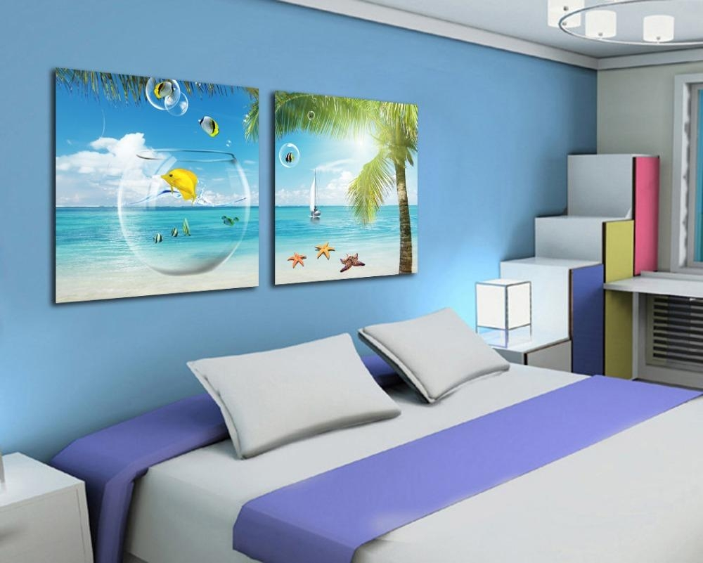 Aliexpress : Buy 2 Piece Canvas Wall Art Beach And Palm Tree In Beach Wall Art For Bedroom (Image 2 of 20)