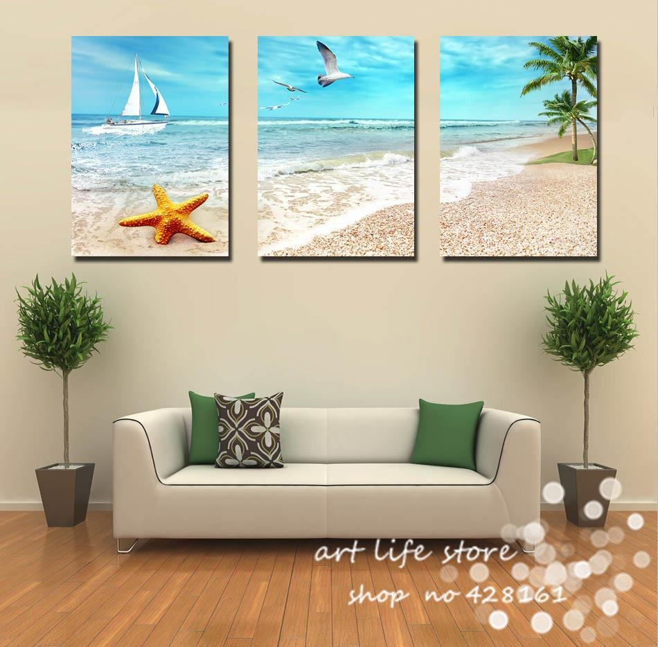 Aliexpress : Buy 3 Panel Large Beach Canvas Seascapes Palm Within 3 Piece Wall Art (Image 9 of 20)