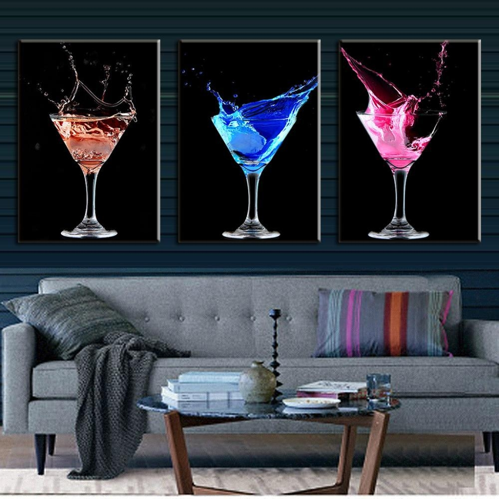 Aliexpress : Buy 3 Pcs/set Abstract Canvas Wall Art Picture Inside Martini Glass Wall Art (View 17 of 20)