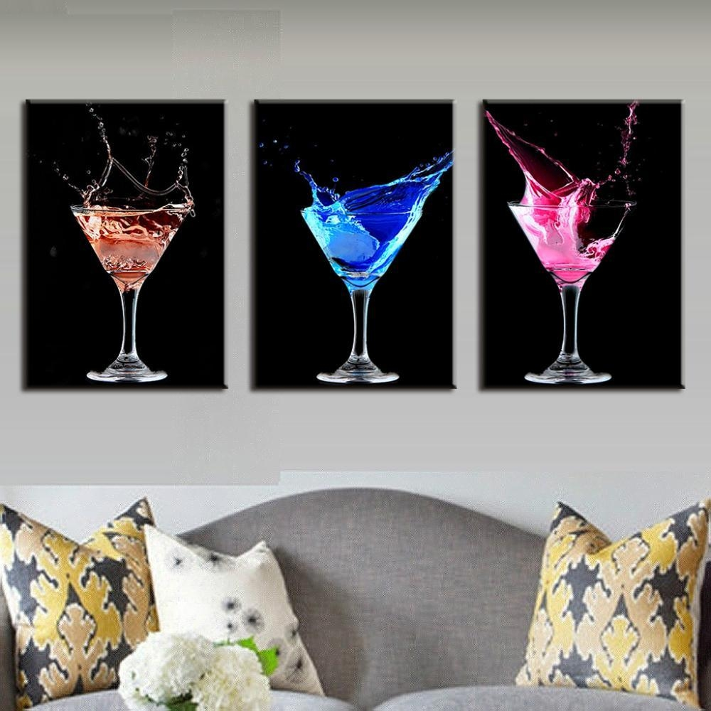 Aliexpress : Buy 3 Pcs/set Abstract Canvas Wall Art Picture Inside Martini Glass Wall Art (View 5 of 20)