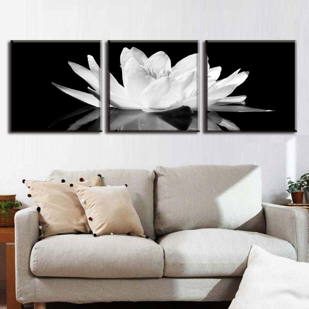 Aliexpress : Buy 3 Pcs/set Canvas Print Flower White Lotus In With Regard To 3 Pc Canvas Wall Art Sets (Image 8 of 20)