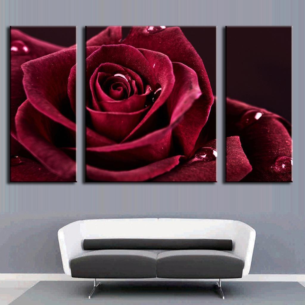 Aliexpress : Buy 3 Pcs/set Flower Combined Dark Red Rose Regarding Red Rose Wall Art (Image 4 of 20)