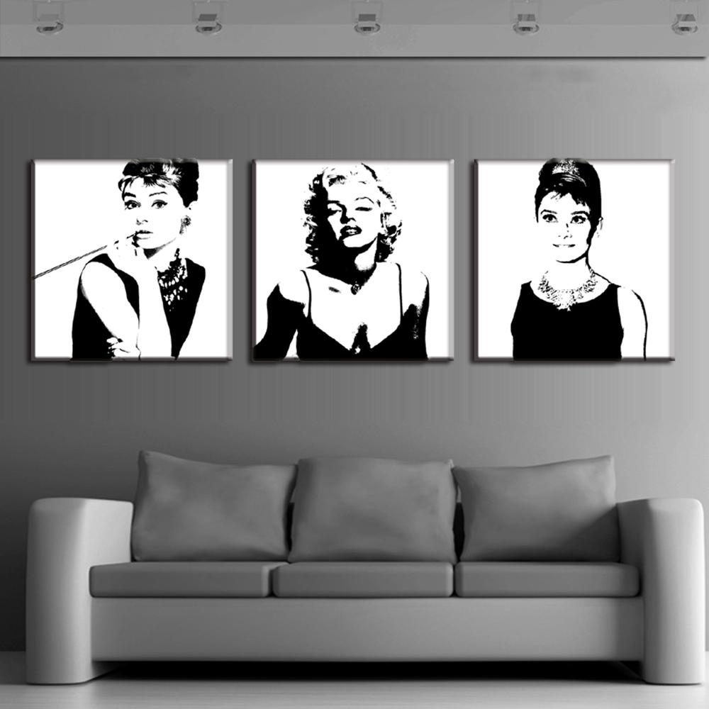 Aliexpress : Buy 3 Pcs/set Framed Vintage Poster Portrait Oil For Marilyn Monroe Black And White Wall Art (View 4 of 20)