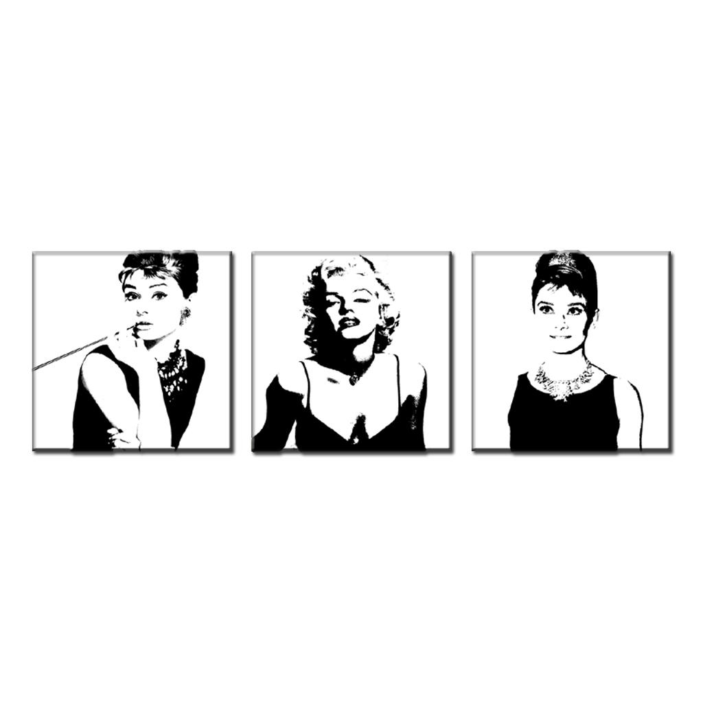 Aliexpress : Buy 3 Pcs/set Framed Vintage Poster Portrait Oil Within Marilyn Monroe Black And White Wall Art (Image 2 of 20)