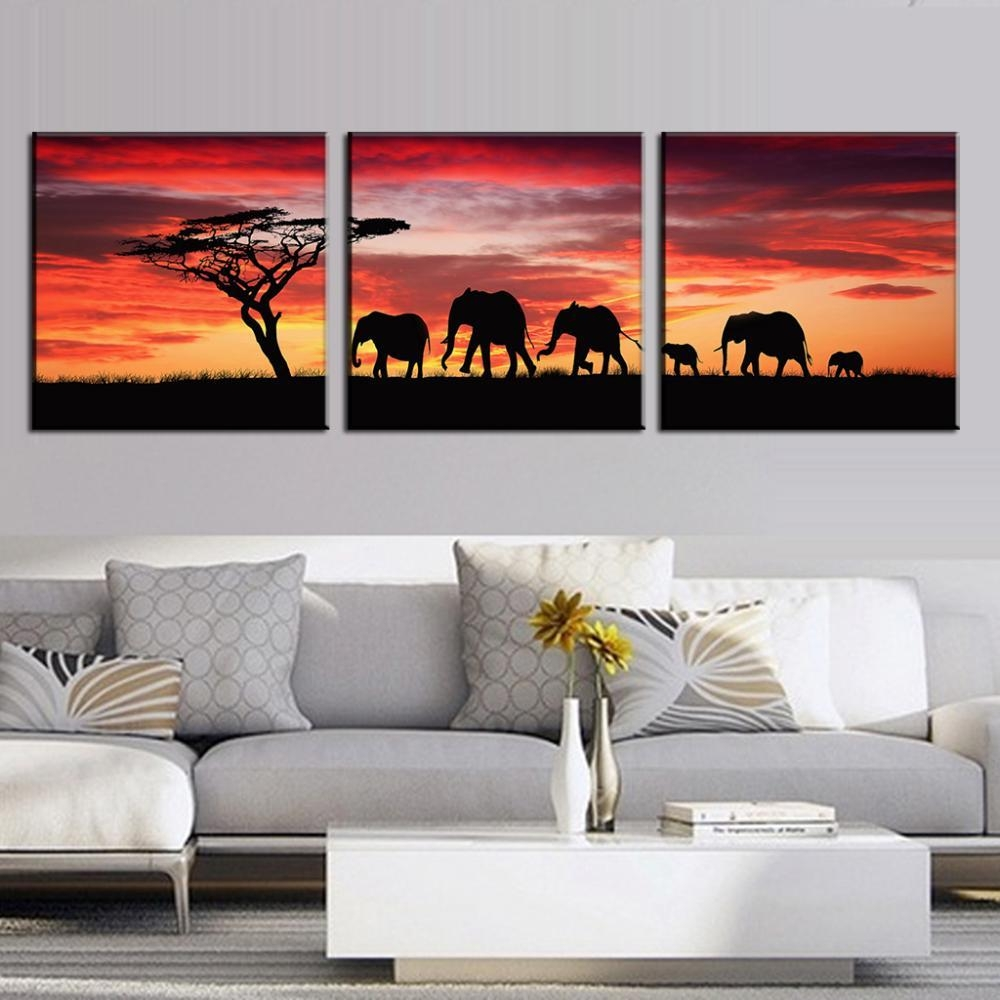 Aliexpress : Buy 3 Pcs/set Landscape Painting Wall Art In 3 Set Canvas Wall Art (View 8 of 20)