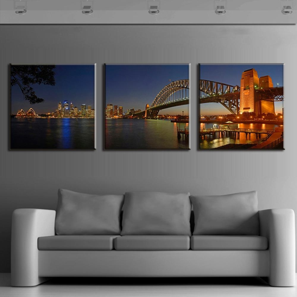 Aliexpress : Buy 3 Pcs/set Modern Wall Paintings Sydney Regarding 3 Set Canvas Wall Art (Image 11 of 20)