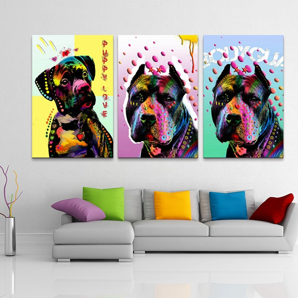Aliexpress : Buy 3 Piece Abstract Canvas Wall Art Prints Cheap For Animal Canvas Wall Art (Image 3 of 20)