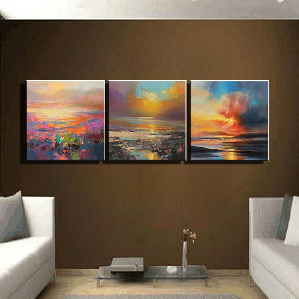 Aliexpress : Buy 3 Piece Abstract Wall Art Canvas Sunset Beach Pertaining To 3 Piece Abstract Wall Art (View 15 of 20)