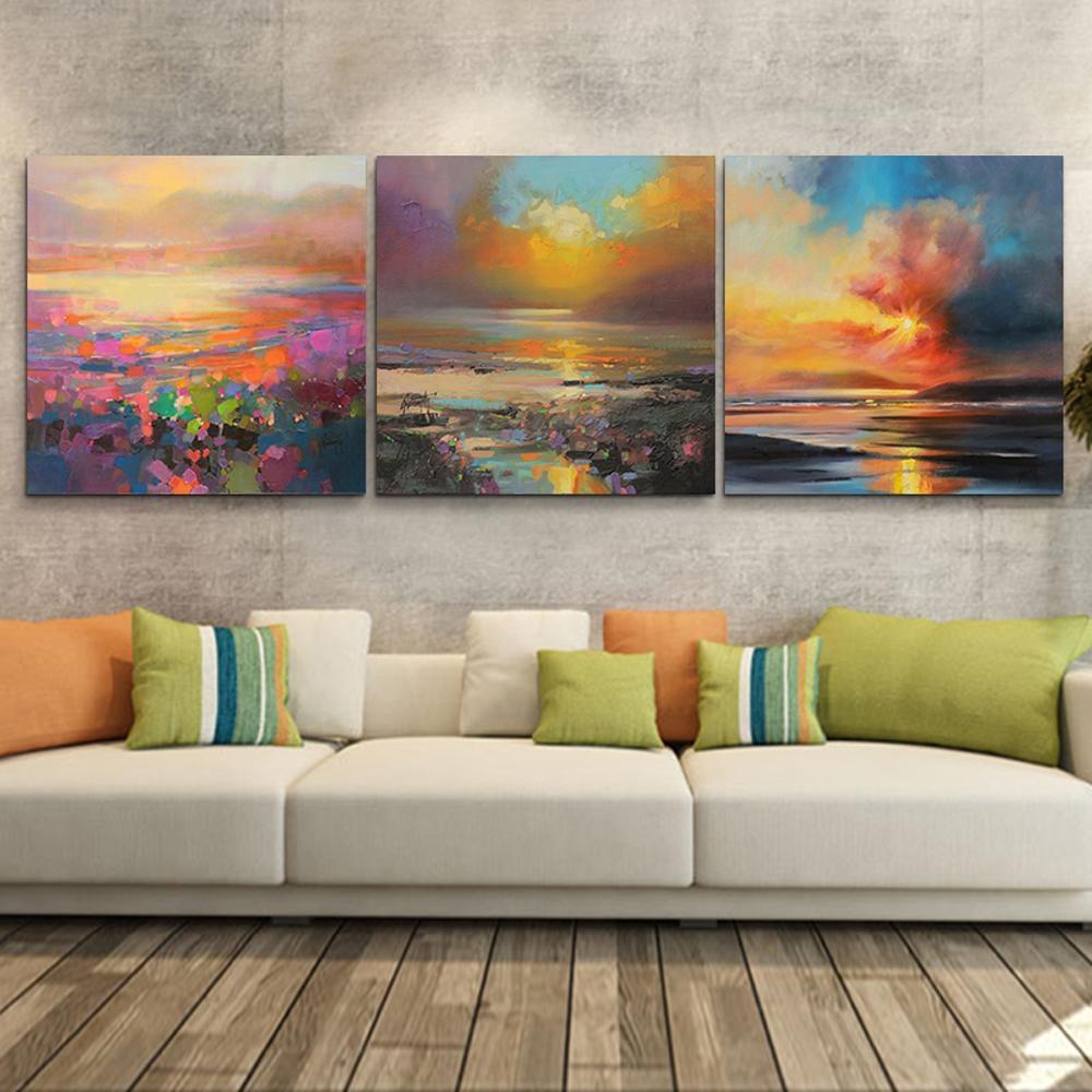 Aliexpress : Buy 3 Piece Abstract Wall Art Canvas Sunset Beach Throughout 3 Piece Modern Wall Art (View 14 of 20)