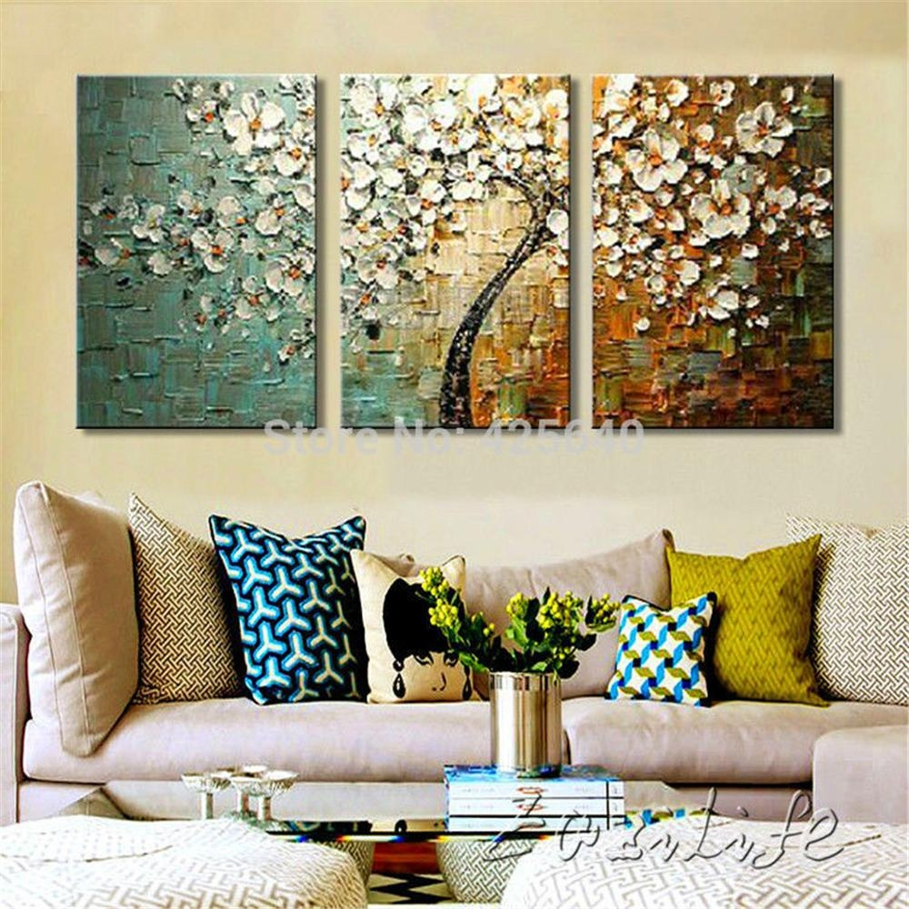 Aliexpress : Buy 3 Piece Hand Painted Flower Tree Cuadros Oil With 3 Pc Canvas Wall Art Sets (View 20 of 20)