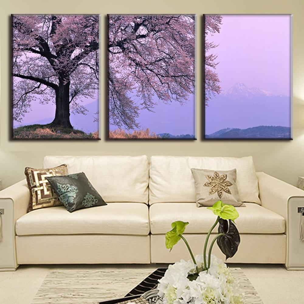 Aliexpress : Buy 3 Piece Landscape Canvas Paintings Modern With Regard To Plum Wall Art (View 12 of 20)