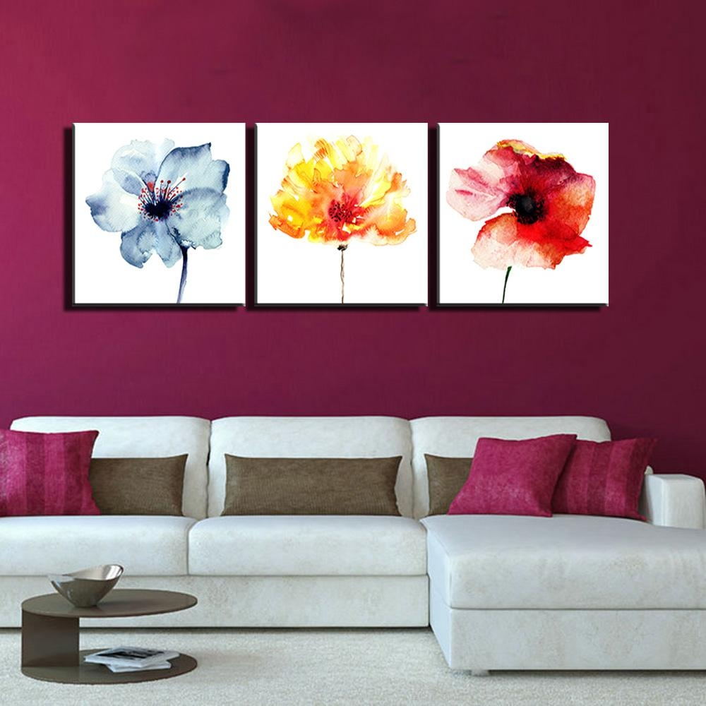 Aliexpress : Buy 3 Piece Watercolor Abstract Wall Art Canvas Regarding 3 Piece Modern Wall Art (Image 10 of 20)