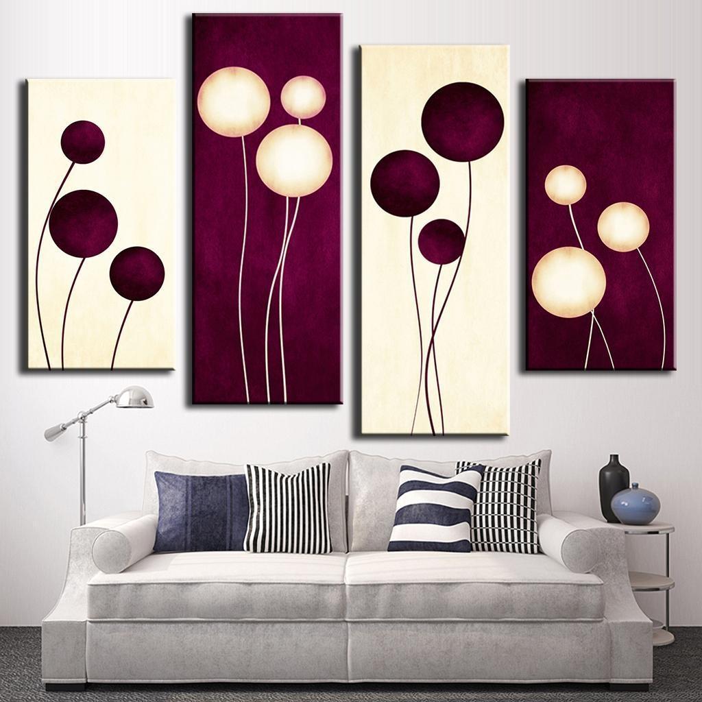 Aliexpress : Buy 4 Pcs/set Abstract Wall Art Simple Purple In Purple Abstract Wall Art (View 14 of 20)