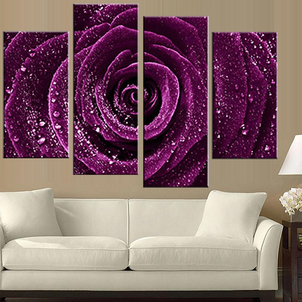 Aliexpress : Buy 4 Pcs/set Combined Flower Paintings Purple Regarding Rose Canvas Wall Art (View 16 of 20)