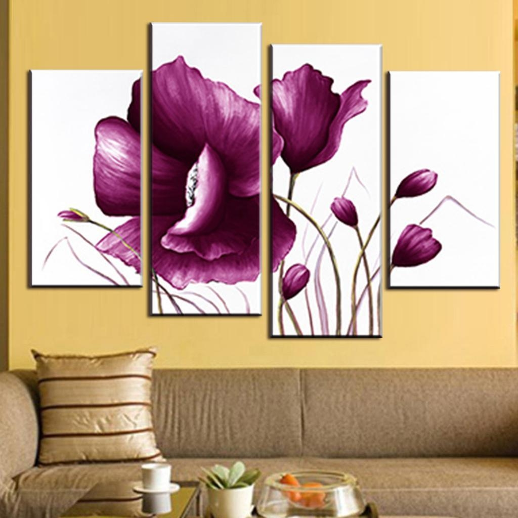 Aliexpress : Buy 4 Pcs/set Romance Big Flower Painting Modern Pertaining To Plum Wall Art (Image 4 of 20)