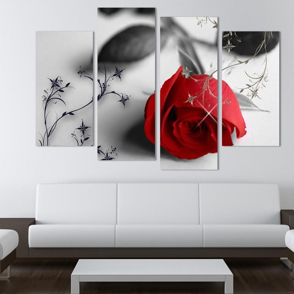 Aliexpress : Buy 4 Piece Beautiful Red Rose Flowers Wall Inside Red Rose Wall Art (Image 6 of 20)