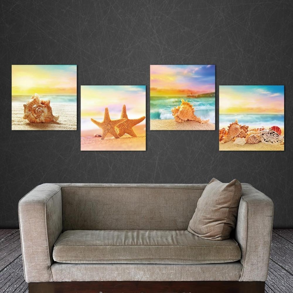 Aliexpress : Buy 4 Piece Modern Seascape Shells Canvas Print With Regard To 4 Piece Wall Art (Image 2 of 19)