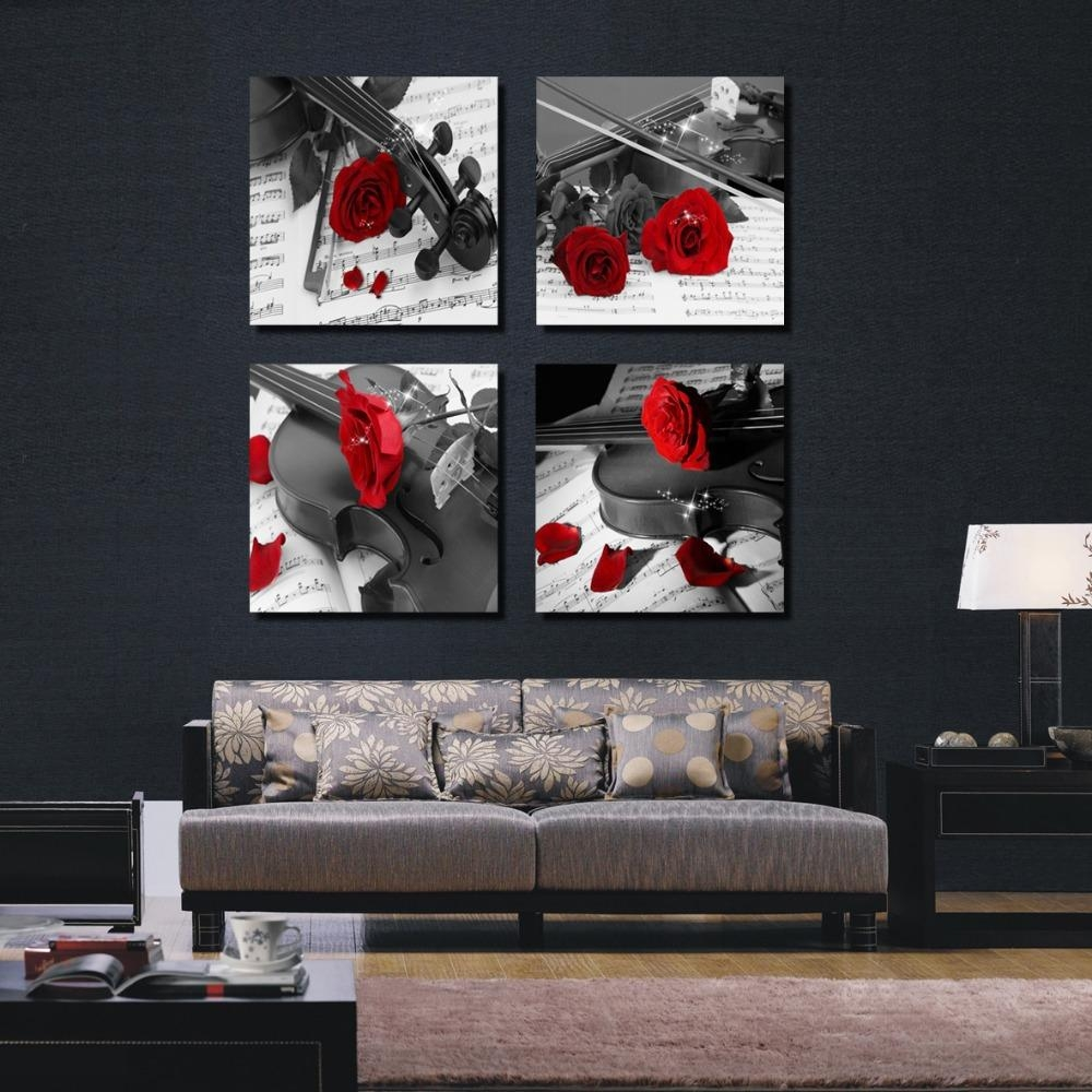 Aliexpress : Buy 4 Pieces Combinated Guitar Rose Flower Canvas With Regard To Black White And Red Wall Art (View 2 of 20)