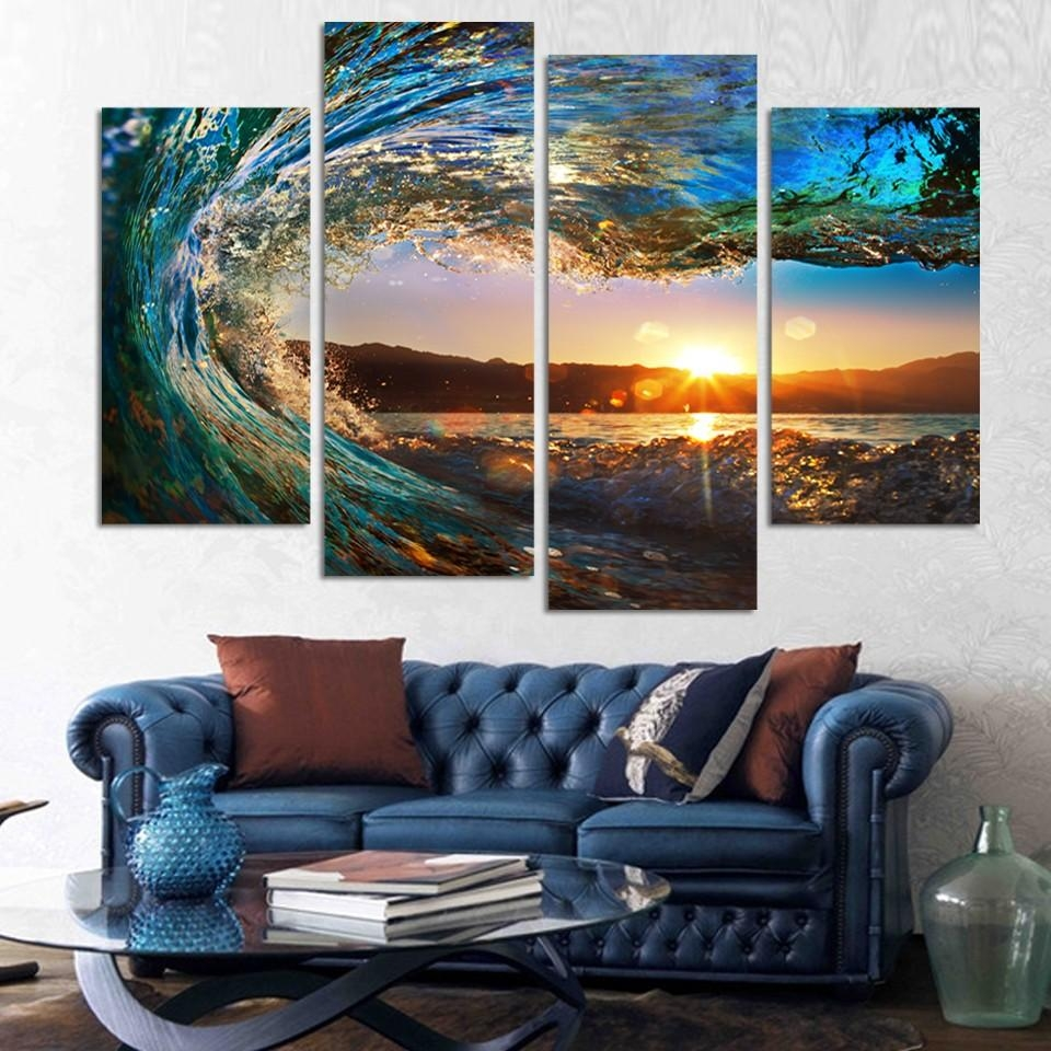 Aliexpress : Buy 4 Pieces Modern Seascape Painting Canvas Art Throughout 4 Piece Wall Art (Image 3 of 19)