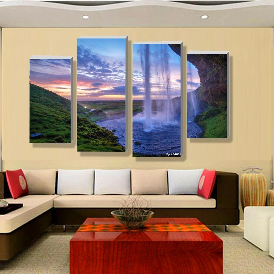 Aliexpress : Buy 4 Pieces Set Unframed Modular Waterfall Wall Intended For Multiple Piece Canvas Wall Art (View 7 of 16)