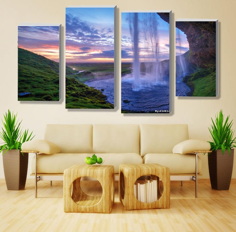 Aliexpress : Buy 4 Pieces Set Unframed Modular Waterfall Wall Within Cheap Wall Art Canvas Sets (View 19 of 20)