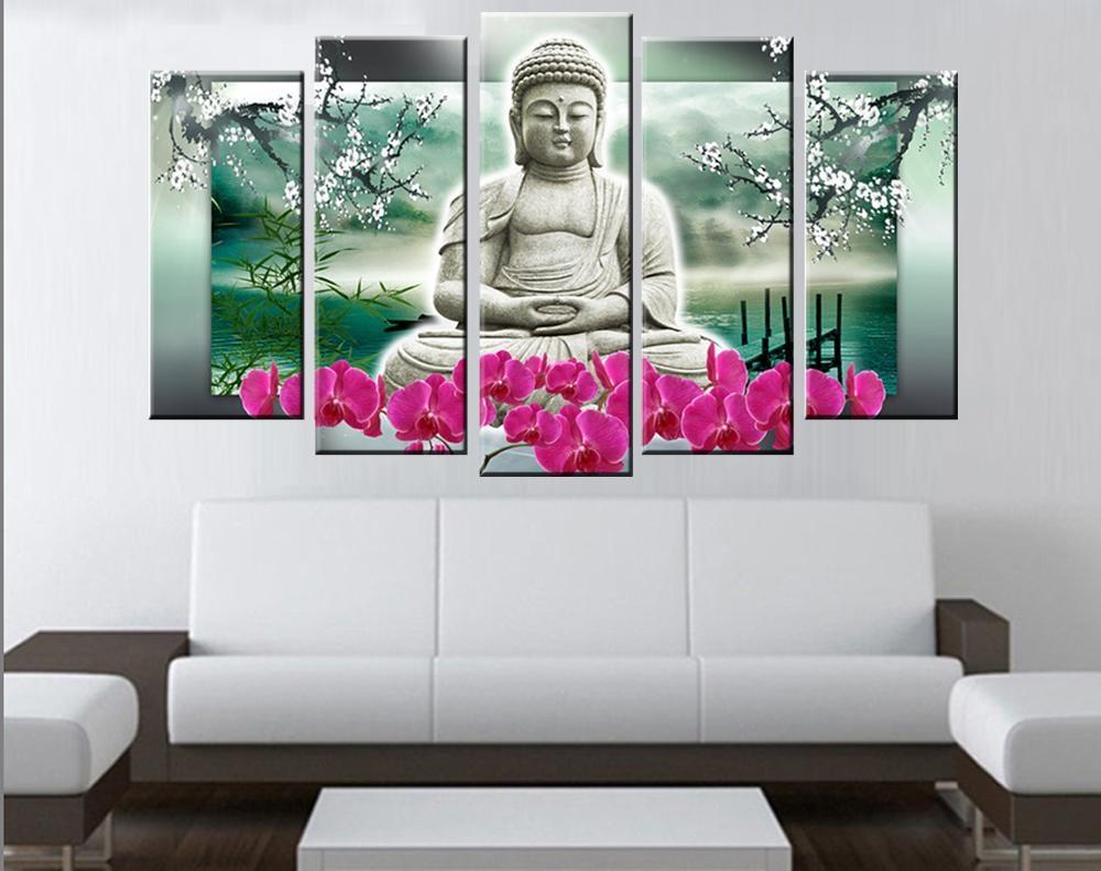 Aliexpress : Buy 5 Panels Buddha Wall Art Modern Buddha Throughout 3D Buddha Wall Art (View 12 of 20)