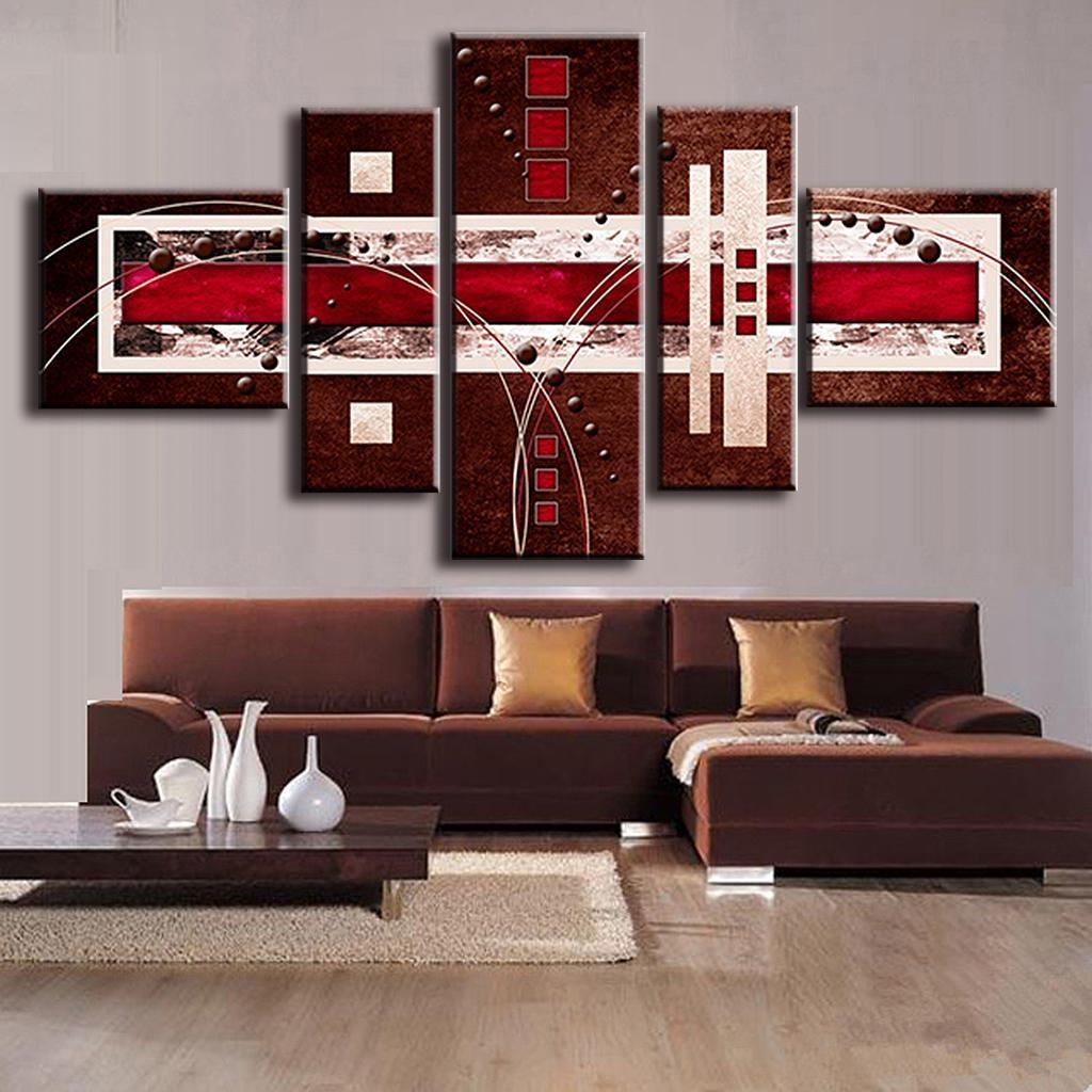 Aliexpress : Buy 5 Pcs/set Combined Modern Abstract Oil Throughout Oil Painting Wall Art On Canvas (View 16 of 20)
