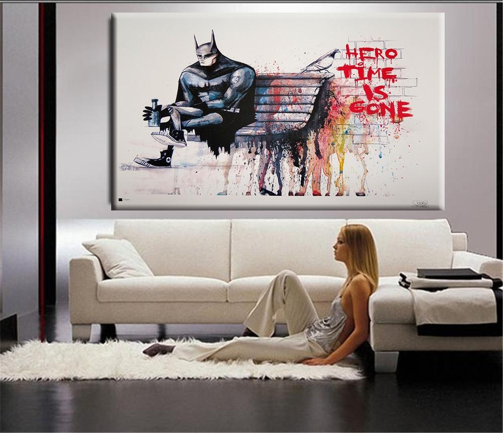 Aliexpress : Buy Banksy Hero Time Is Gone Canvas Art Print With Huge Wall Art (Image 6 of 20)