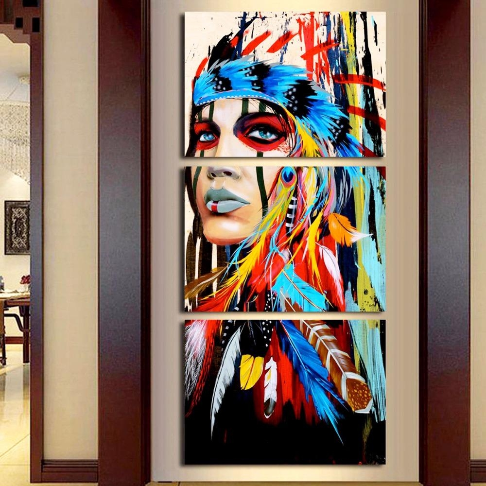 Aliexpress : Buy Beauty Art Canvas Painting Native American With Native American Wall Art (View 10 of 20)