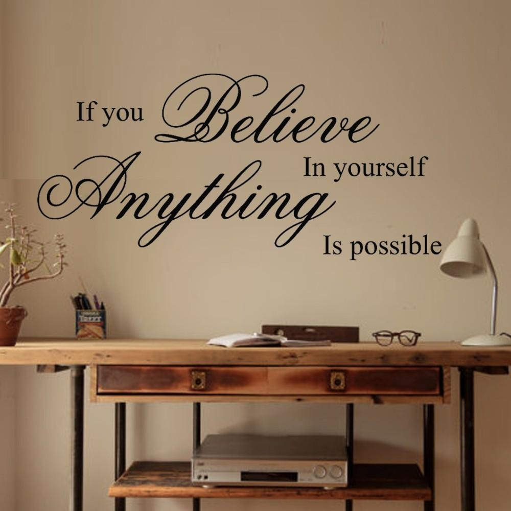 Aliexpress : Buy Believe In Yourself Inspirational Wall Quote Regarding Inspirational  Wall Decals For Office (