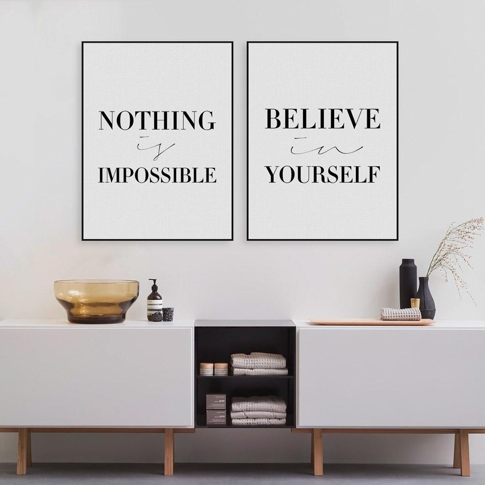 Aliexpress : Buy Black Minimalist Motivational Typography With Typography Canvas Wall Art (Image 2 of 20)