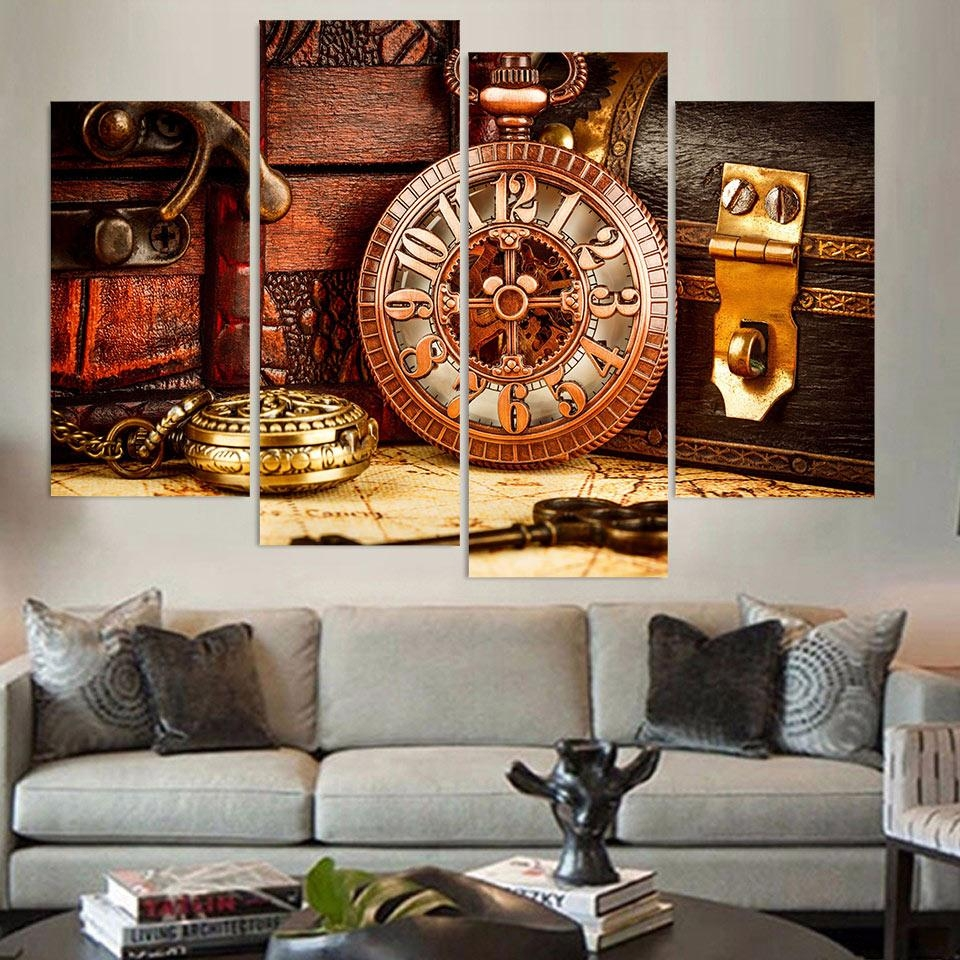 Aliexpress : Buy Canvas Painting 4 Piece Canvas Art Vintage With Regard To 4 Piece Wall Art (View 16 of 19)