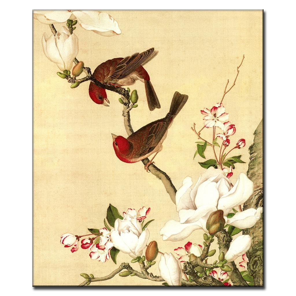 Aliexpress : Buy Chinoiserie Peach Blossom And Magpie With Regard To Chinoiserie Wall Art (Image 8 of 20)