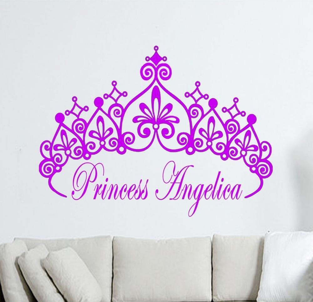 Aliexpress : Buy Customize Personalised Name Princess Crown Pertaining To Princess Crown Wall Art (Image 2 of 20)