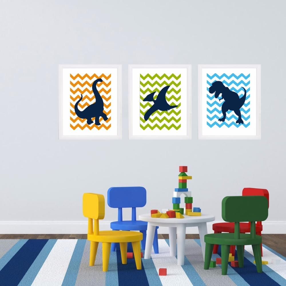 Aliexpress : Buy Dinosaur Cartoon Canvas Painting Nursery Wall Inside Dinosaur Canvas Wall Art (Image 3 of 20)