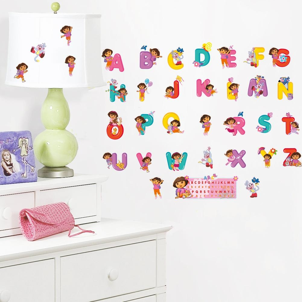 Aliexpress : Buy Dora Cute Carton Alphabet Vinyl Wall Sticker Throughout Classroom Vinyl Wall Art (Image 1 of 20)