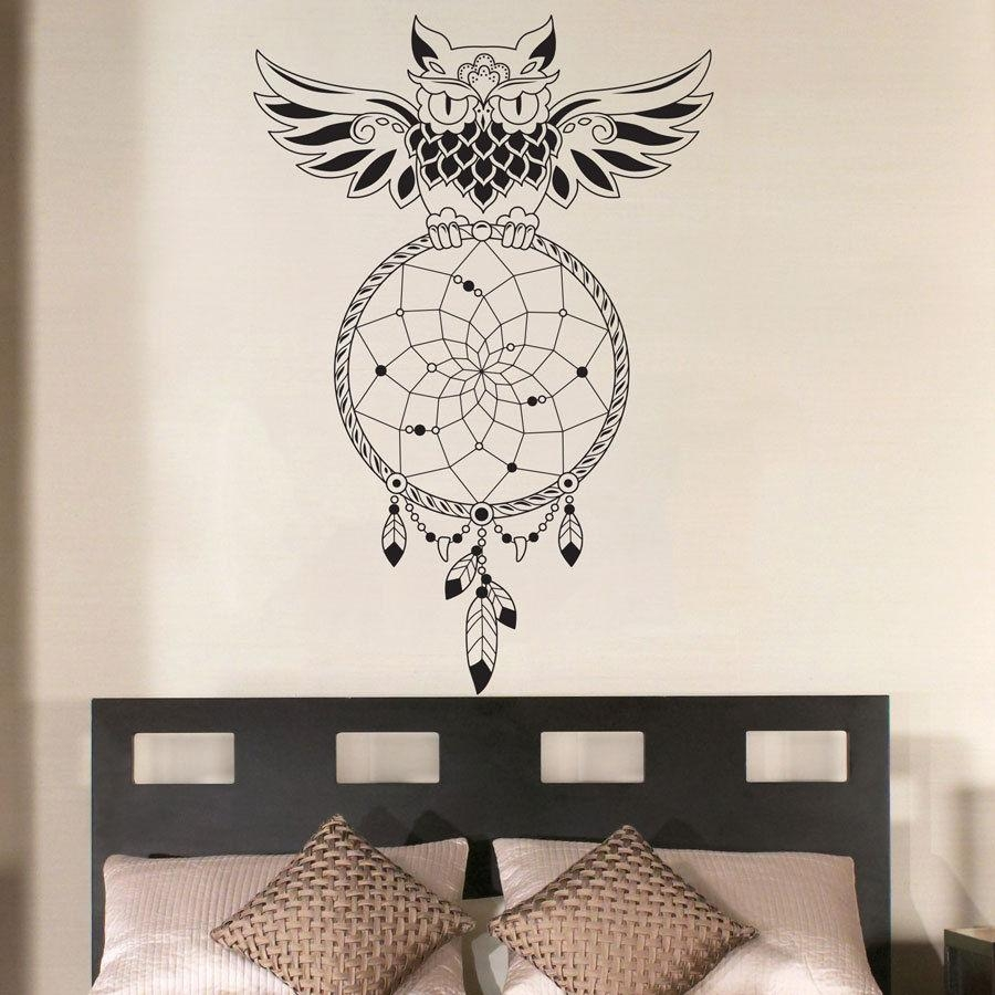 Aliexpress : Buy Dream Catcher Bedroom Owl Wall Decal Art Within Owl Wall Art Stickers (View 11 of 20)