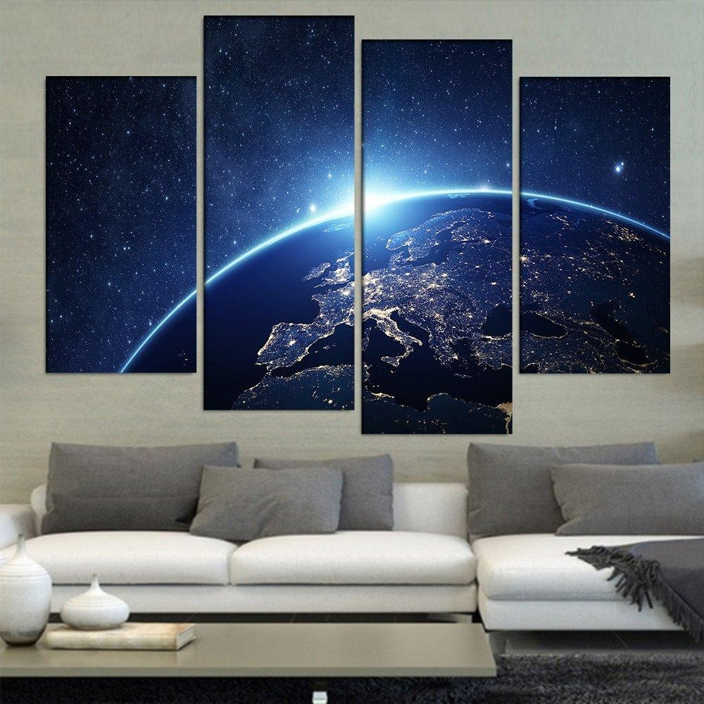 Aliexpress : Buy Earth From Space 4 Pieces/sets Canvas Art In 4 Piece Wall Art Sets (Image 1 of 20)