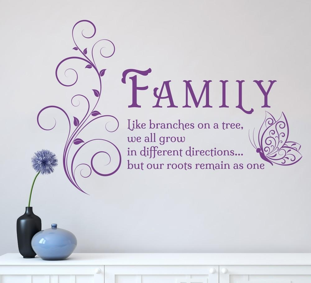 Aliexpress : Buy Family Like Branches Quotes Butterfly Vinyl Intended For Butterflies Wall Art Stickers (View 6 of 20)