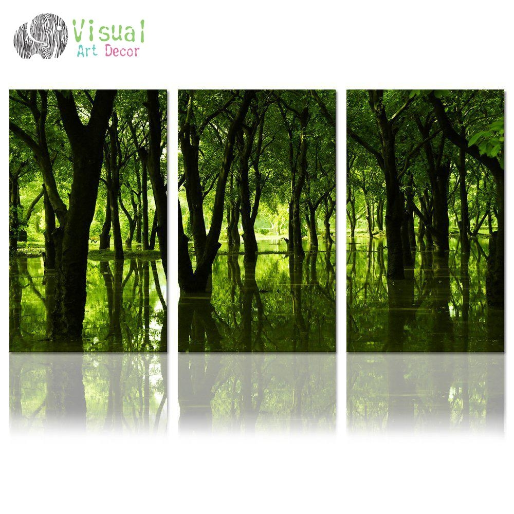 Aliexpress : Buy Forest Canvas Wall Art Well Designed Throughout Large Green Wall Art (View 17 of 20)