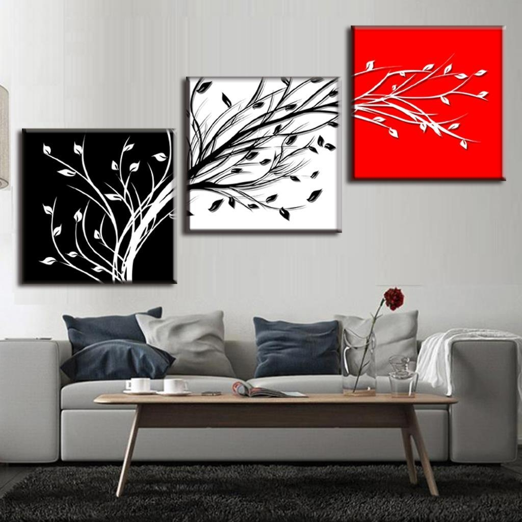 Aliexpress : Buy Framed Painting 3 Pcs/set Abstract Black With Black And White Framed Wall Art (Image 3 of 20)