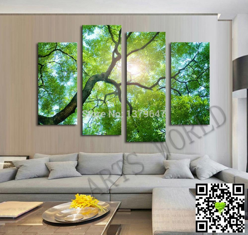 Aliexpress : Buy Free Shipping 4 Panels Green Tree Painting Inside Green Canvas Wall Art (Image 5 of 20)