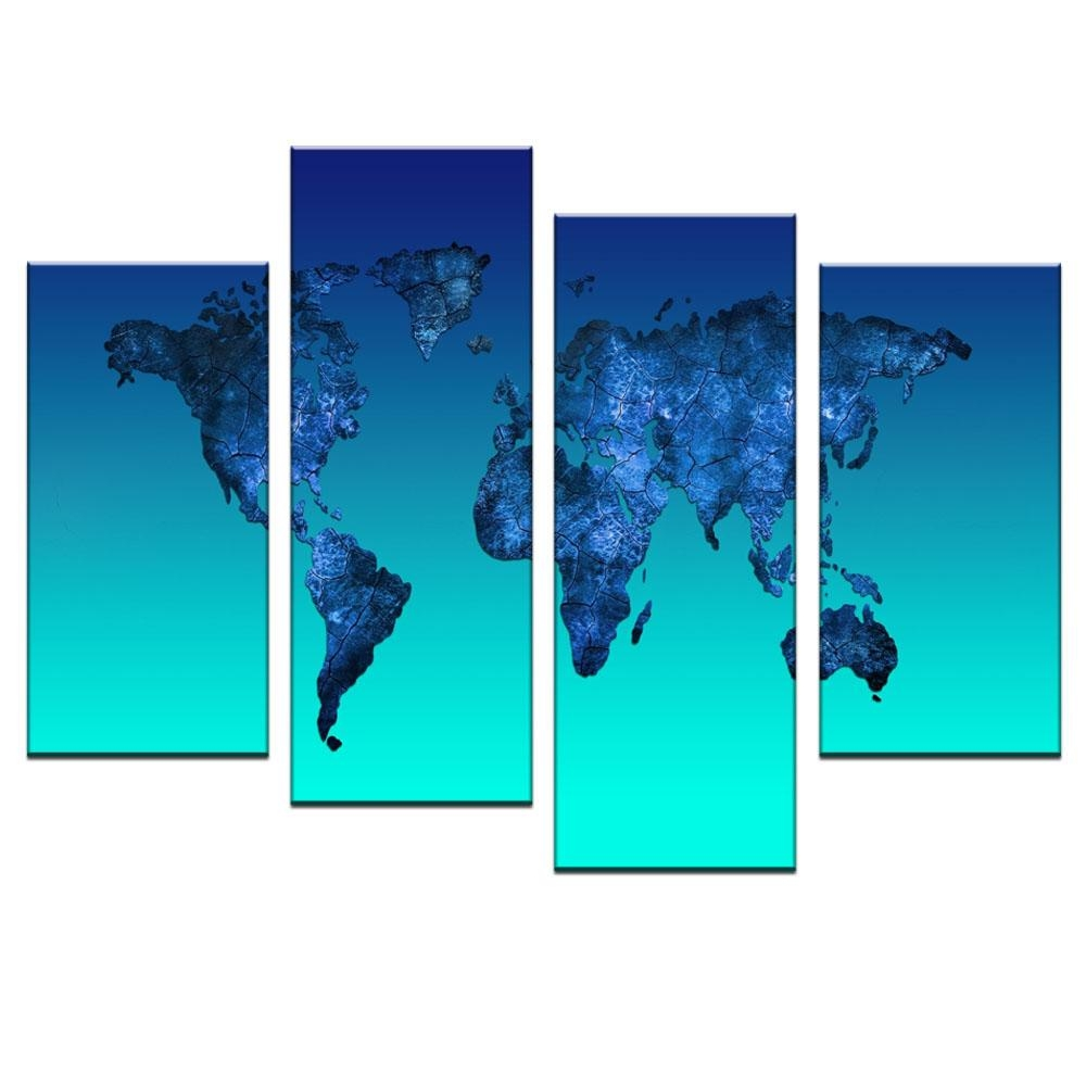 Aliexpress : Buy Global World Map Canvas Print Painting 4 Intended For 4 Piece Wall Art (View 13 of 19)