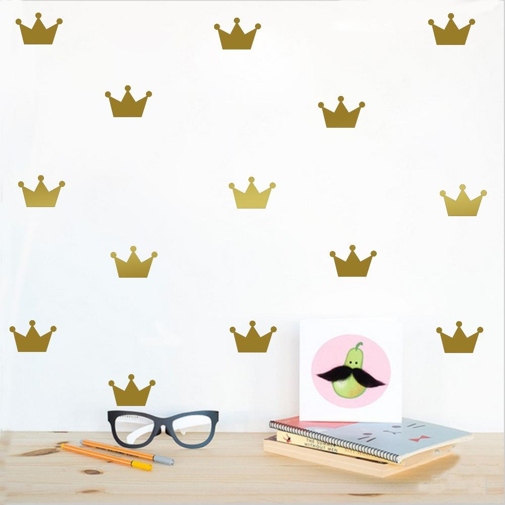 Aliexpress : Buy Gold Crown Princess Wall Sticker For Girls In Princess Crown Wall Art (Image 3 of 20)