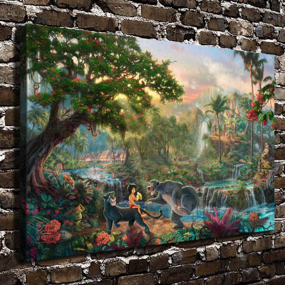 Aliexpress : Buy H1213 Thomas Kinkade The Jungle Book, Hd Inside Jungle Canvas Wall Art (View 4 of 20)